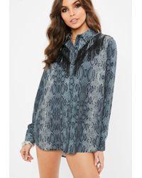 Missguided - Gray Snakeskin Double Fringe Chiffon Shirt - Lyst