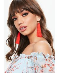 Missguided - Red Long Tassel Diamante Earrings - Lyst