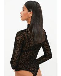 Missguided - Black Flocked Mesh High Neck Bodysuit - Lyst