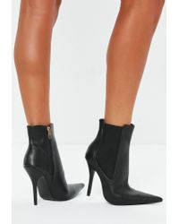 Missguided - Black Extreme Point Heeled Chelsea Boots - Lyst