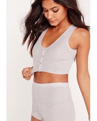 Missguided - White Ribbed Night Co-ord Set Grey - Lyst