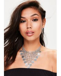 Missguided | Metallic Silver Coin Drop Necklace | Lyst