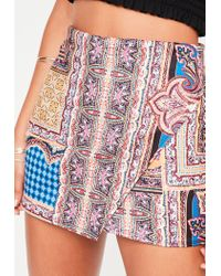 Missguided - Red Tile Printed Wrap Over Skort - Lyst