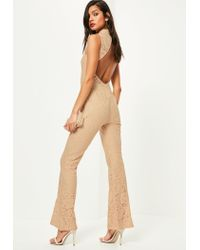 Missguided Nude Open Back Sleeveless Lace Jumpsuit in Natural - Lyst b509e92c7