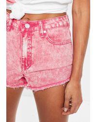 Missguided - Pink Acid Wash High Waisted Denim Shorts - Lyst