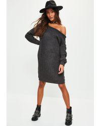 Missguided | Gray Dark Grey Off Shoulder Knitted Jumper Dress | Lyst