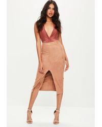 Missguided - Brown Plunge Slinky Bodysuit - Lyst