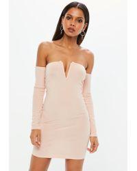 Missguided - Pink V Bar Bardot Mini Dress - Lyst
