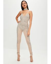 b709a349413 Lyst - Missguided Carli Bybel X Nude Embellished Jumpsuit in Natural