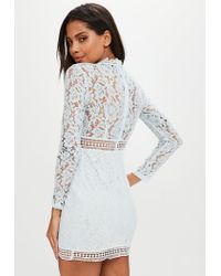 Missguided - Blue Lace Ladder Trim Bodycon Dress - Lyst
