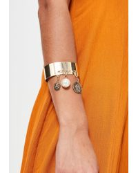 Missguided - Metallic Gold Metal Charm Drop Cuff Bracelet - Lyst