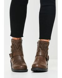Missguided - Brown Buckle Zip Biker Boots - Lyst