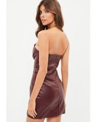 Missguided - Multicolor Burgundy Faux Leather V Bar Plunge Bodycon Dress - Lyst