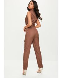 Missguided - Tall Brown Tailored Tux Jumpsuit - Lyst
