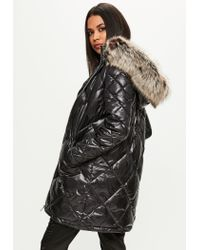 Missguided - Black Diamond Quilted Padded Jacket - Lyst