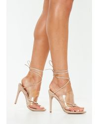 35d307ac9eb Lyst - Missguided Nude Clear Strap Lace Up Heeled Sandals in Natural