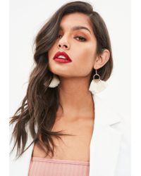 Missguided - Natural Cream Hoop Fan Tassel Earrings - Lyst