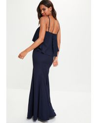 Missguided - Blue Navy Crepe Frill Maxi Dress - Lyst