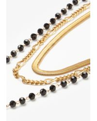Missguided - Metallic Gold Layered Beaded Choker Necklace Set - Lyst