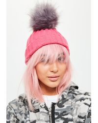 Missguided - Pink Pom Pom Beanie - Lyst