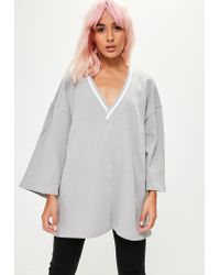Missguided - Gray Grey Sports Trim Knitted Top - Lyst