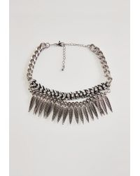 Missguided - Black Metal Statement Feather Chunky Chain Choker Necklace - Lyst