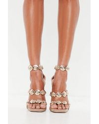 12911a939b5 Missguided Peace + Love Nude Embellished Three Strap Heeled Sandals ...
