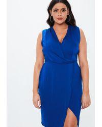 lyst  missguided plus size cobalt blue wrap drape front