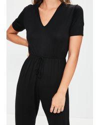 Missguided - Black Jersey Short Sleeve Jumpsuit - Lyst