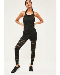 Missguided - Active Black Cut Out Fishnet Sports Leggings - Lyst