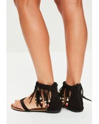 Missguided - Black Tassel Band Beaded Flat Sandals - Lyst