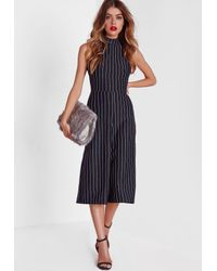 b231d708f87c04 Lyst - Missguided High Neck Pinstripe Culotte Jumpsuit Navy in Black