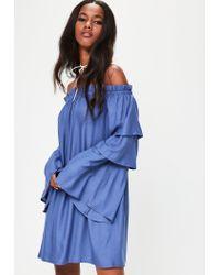 Missguided - Blue Layered Sleeve Bardot Shift Dress - Lyst