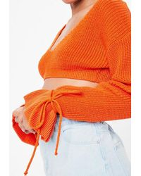 Missguided - Orange Plunge Flare Sleeve Cropped Sweater - Lyst