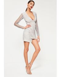 Missguided - Gray Grey Geometric V Plunge Lace Bodycon Dress - Lyst
