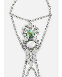 Missguided - Metallic Silver Crystal Handchain - Lyst