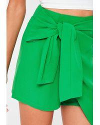 Missguided | Green Chiffon Tie Front Skort | Lyst