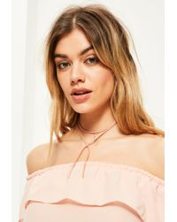 Missguided | Pink Diamante Pendant Wrap Around Choker Necklace | Lyst