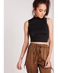Missguided - Ribbed High Neck Crop Top Black - Lyst
