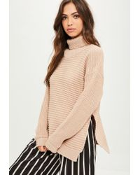 4816612eec Missguided Tan Roll Neck Step Hem Knitted Sweater in Brown - Lyst