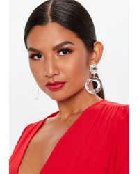 Missguided - Red Clear Dropped Diamante Earrings - Lyst