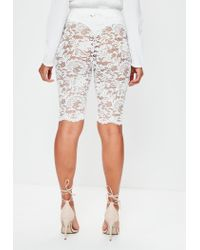 Missguided | White Lace Cycling Shorts | Lyst