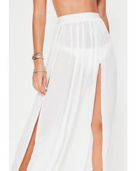 Missguided - White Chiffon Double Split Beach Maxi Skirt - Lyst