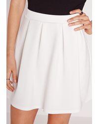 Missguided - Scuba Skater Mini Skirt White - Lyst