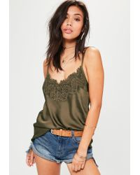 Missguided - Multicolor Khaki Eyelash Lace Trim Cami Top - Lyst