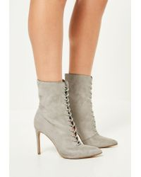Missguided - Gray Grey Pointed Lace Up Heeled Ankle Boots - Lyst