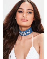 Missguided - Blue Denim Jewel Choker Necklace - Lyst