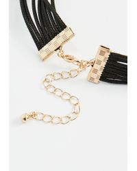 Missguided | Black 3 Gem Tie Up Choker Necklace | Lyst
