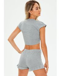 Missguided - Gray Crop Tie Front Frill Loungewear Set - Lyst