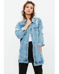 Missguided - Barbie X Blue Longer Length Denim Jacket - Lyst